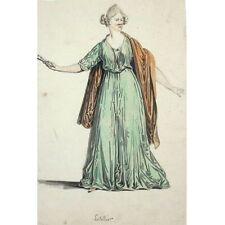 Antique FrenchInk & Watercolor Drawing, Woman, Actress, Signed Letellier, 1868