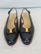 New W/O Tags Pair of Ferragamo Black Bow Buckle Flats Size 6 ½ AA Style DL605517