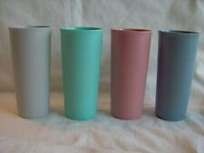 TUPPPERWARE 12 Oz LARGE PASTELS TUMBLERS #115 Set of 4 GLASSES CUPS STACKABLE