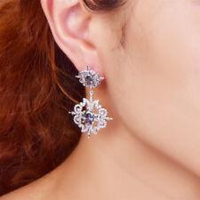 Lady Rainbow & White Topaz 100% 925 Sterling Silver Dangle Chandelier Earrings