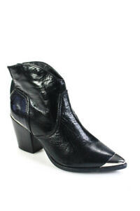 Aqua Womens Leather Pointed Toe Pose Ankle Boots Black Size 8 Medium