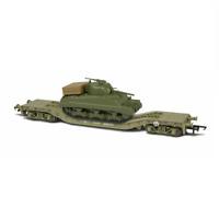 Oxford OR76WW006C Warwell Flat Wagon KWA 95537 w/Sherman Tank Load OO Gauge
