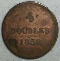 1830 Britain British UK Copper 4 Doubles Token Coin Guernesey #SS773