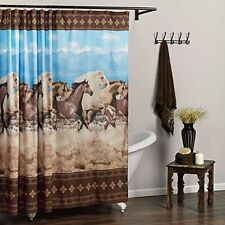 """NEW Galloping Horse Shower Curtain 70""""W x 72""""H Polyester Washable Western Theme"""
