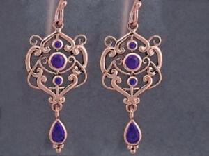 E104- Genuine 9K Rose Gold Natural Amethyst  Drop Earrings Filigree Chandelier