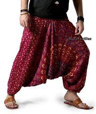 INDIAN BAGGY GYPSY HAREM PANTS YOGA MEN WOMEN RAYON CHAKRI PRINT TROUSERS