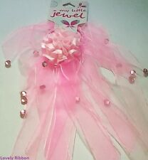 2 x ORGANZA, DIAMONTE HAIR TIE, Pink, Ponytail, Bow, Free Post, 5 to 20cm Length