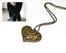 Damen Halskette Kette Herz Anhänger in Antik Bronze Farbe Vintage Nostalgie NEU