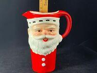 "Large Vintage Ceramic Santa Claus Pitcher 7-1/2"" tall Ho-Ho-Ho! Merry Christmas!"