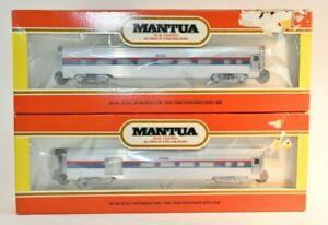 2 DIFF  NEW MANTUA HO DUAL LIGHTED ALUMINUM STREAMLINERS  COMBINE COACH Amtrak