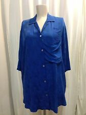 Vintage Adele Palmer Silk Button Down Collared shirt Electric Blue Size Small