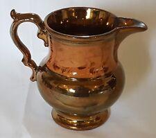 Orange band copper lustre vintage Victorian antique footed jug