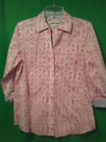 9530) NWOT FOXCROFT Small red blue button down shirt blouse Easy Care cotton S