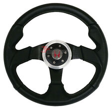JDM 320mm Racing Sport Steering Wheel Black PVC Leather Horn Button For Honda