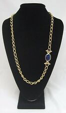 Heavy Gold Chain Asymmetrical Necklace With Blue Lucite Swirl Double Toggle
