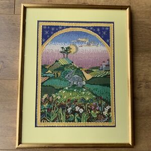 Cute Framed Cross Stitch Animals Forest Rabbit Celestial Sun Moon Stars Tapestry