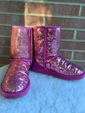 Womens UGG Authentic Boots Short Size 9 US Pink Sequin Sparkle Bling