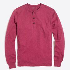 New J Crew Mens Size Small Long Sleeve Slub Cotton Henley Shirt Heather Red