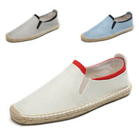 Men Comfortable Linen Shoes Casual Slip On Loafers Breathable Walking Flat Shoes