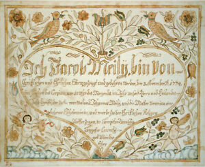 """8"""" x 10"""" 1744 Decorated Birth Certificate Jacob Meily"""
