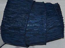 Wired Ribbon~Crinkle Dark Blue~Metallic Silver~Fringe~Krinkle~Wreath~Holiday~Bow