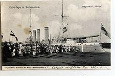 24213 Ak Kaisertage en Swinemuende con Kriegsschiff Szczecin 1909