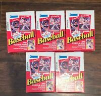 LOT of 5   Donruss 1990 Baseball Puzzle and Cards UNOPENED PACKS
