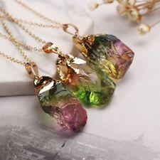Cuarzo Chapado en oro Piedra irregular Joyas Colgante de cristal natural Collar