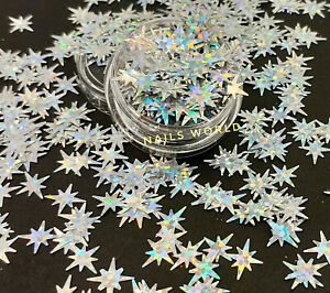 Silver Christmas STAR Holographic 3D Nail Art Glitter Sequins Shining Xmas