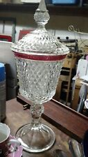 VINTAGE INDIANA GLASS DIAMOND POINT RUBY FLASH CANDY DISH COMPOTE PEDESTAL LID