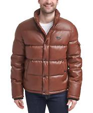 Levi's Bubble Puffer Coat Jacket Faux Leather Saddle Brown Large LM1RU088 Quilt