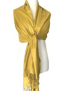 Yellow Pashmina Wrap Ladies Mustard Shawl Wedding Bridesmaid Fair Trade Scarf