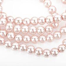 8mm BLUSH PINK Round Glass Pearl Beads x100 beads bgl1713