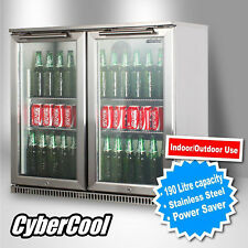 190 Litres Glass Door Stainless Steel Cooler Drinks Bar Fridge Display