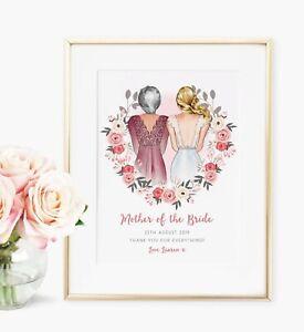 Mother of the Bride Personalised Wedding Bridal Print Keepsake Gift UNFRAMED