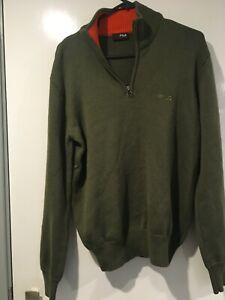 FILA Men's Zip Neck Jumper Sweater UK/US S 100% Merino Wool