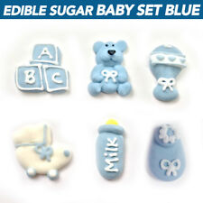 Cupcake Toppers 36 Pc Baby Shower Set Blue Edible Sugar Flowers Cupcake Boxes