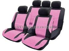 rose noir Housses de siège auto LOOK CUIR VOLANT FIXATION PLAQUETTES SET