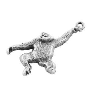 Antique Silver Orangutan Charms Monkey Animal Ape Charm Necklace Bracelet Charm