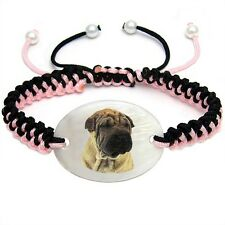 Shar Pei Dog Mother Of Pearl Natural Shell Adjustable Knot Bracelet BS232