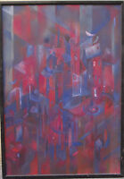 Unknown painter: Abstract blue-red cityscape with a crucifix