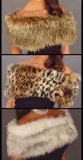 Animal Print faux fur shrug stole shawl wrap  (Leopard,  Brown Wolf,  White Fox)