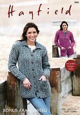 Sirdar 7895 Knitting Pattern Womens Cardigans in Hayfield Bonus Aran Tweed