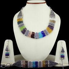 Necklace bracelet earrings crystal multi color gemstone handmade beaded jewelry