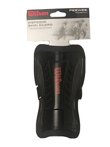 """Wilson Peewee Soccer Shin Guards Black Youth Players up to 4' 1"""" Black Red"""