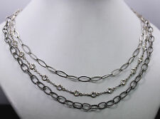 Sterling Silver 3 Strand Necklace with Clear CZ 28""