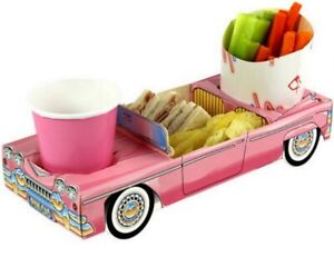 Girls Pink Convertible Car - Party Meal Food Trays - Snack Lunch Box Plate Tray