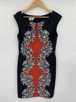 London Times Women's Sheath Dress Black Size 8 Floral Paisley Knee Length K9