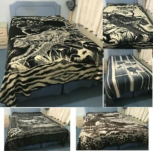 HEAVY WARM BLANKET KING SIZE BED THROW DOUBLE SIDED 220 x 240CM ANIMAL PRINT