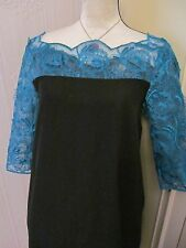 bnwt  love label teal and black daisy wing 50s 60s   lace top dress size 10